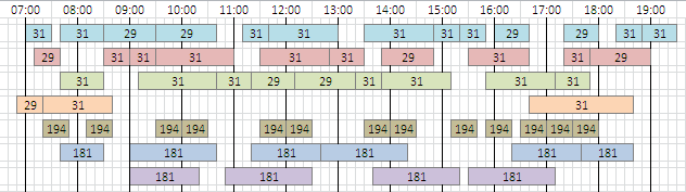 Schedule for York and Country buses